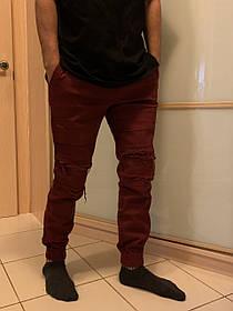 Гетто  бордовые джинсы рваные