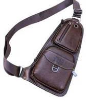 Мужская сумка через плечо Jeep Bag 777 коричневая, размер 37х19х3см, эко-кожа, 5 отделений, Сумки мужские