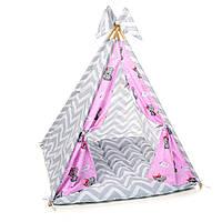 """Вигвам, детская игровая палатка с ковриком и подушками. Расцветка """"Медведи Rose"""""""