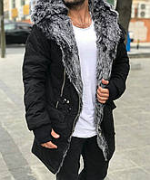 Парка утепленная зимняя черная с мехом мужская стильная OPEN Турция