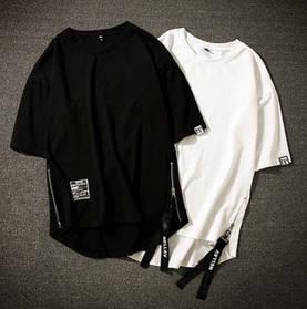 Гетто swag футболка белая  с боковыми змейками и закругленным низом оверсайз oversize Kenny West