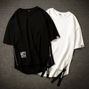 Гетто swag футболка белая  с боковыми змейками и закругленным низом оверсайз oversize Kenny West, фото 2