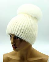 """Норковая шапка """"Шарик"""" на вязаной основе с бубоном (белая)"""