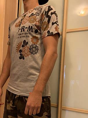 Серая арт футболка с иероглифами, фото 2
