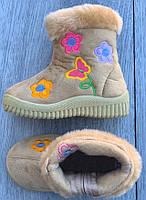 Ботинки зимние детские (НА ФЛИСЕ) 8 пар в ящике бежевого цвета 23-30, фото 2