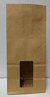 Пакет бумажный подарочный фасовочный чай кофе мука крупа орешки окошко 85х65х190 (1000шт/уп) эко крафт 70гр/м2