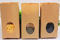 Пакет бумажный подарочный с окном фасовочный чай кофе орешки 85х65х190 (500шт/уп) эко крафт 70гр/м2 nuts