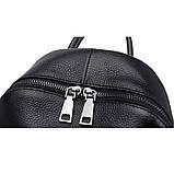 Рюкзак міський жіночий шкіряний. Рюкзак з натуральної шкіри (чорний), фото 6