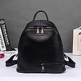 Рюкзак міський жіночий шкіряний. Рюкзак з натуральної шкіри (чорний), фото 3