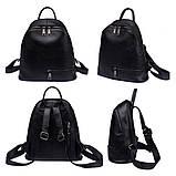 Рюкзак міський жіночий шкіряний. Рюкзак з натуральної шкіри (чорний), фото 4