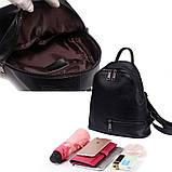 Рюкзак міський жіночий шкіряний. Рюкзак з натуральної шкіри (чорний), фото 10