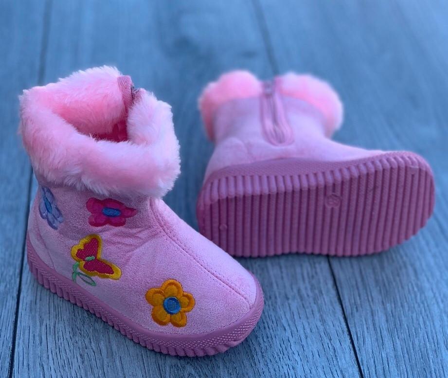 Ботинки зимние детские (НА ФЛИСЕ) 8 пар в ящике розового цвета 23-30