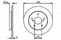 Тормозной диск TOYOTA COROLLA седан (_E15_) / TOYOTA AURIS (_E15_) 2006-2018 г.
