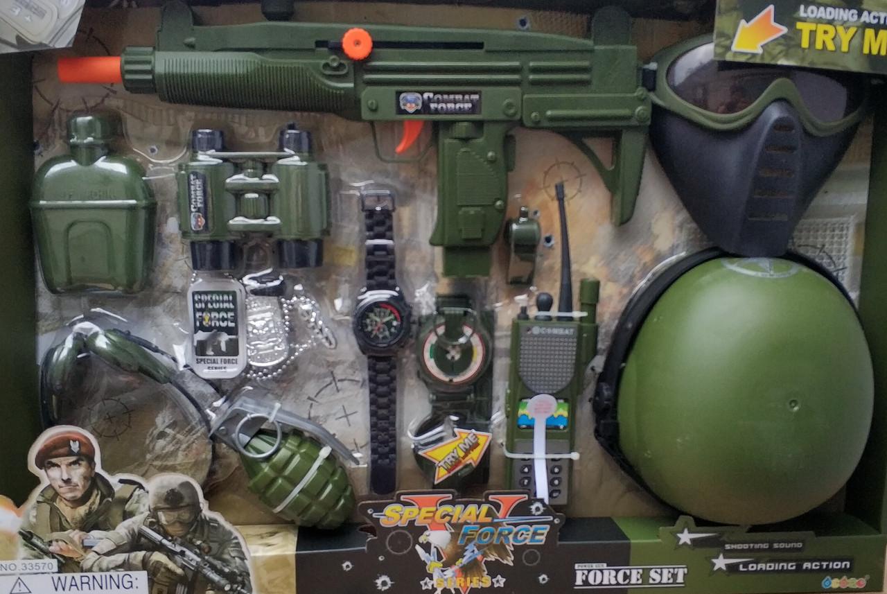 Детский набор военного с оружием спецназ зелёный