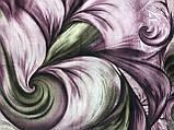 Женский  палантин с бахромой серый с сиреневым и оливковым, фото 2