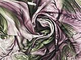 Женский  палантин с бахромой серый с сиреневым и оливковым, фото 3