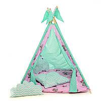 """Вигвам, детская игровая палатка с ковриком и подушками. Расцветка """"Медведи Pink"""""""