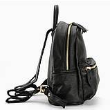 Жіночий шкіряний рюкзак міський. Модний маленький рюкзак жіночий. Рюкзак з натуральної шкіри (чорний), фото 3
