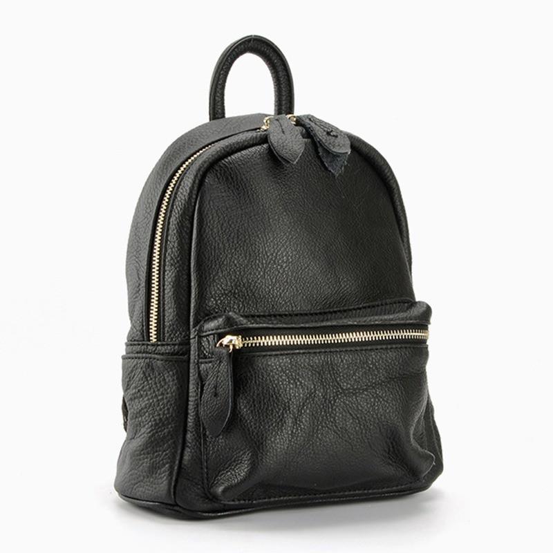 Жіночий шкіряний рюкзак міський. Модний маленький рюкзак жіночий. Рюкзак з натуральної шкіри (чорний)