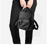 Жіночий шкіряний рюкзак міський. Модний маленький рюкзак жіночий. Рюкзак з натуральної шкіри (чорний), фото 2