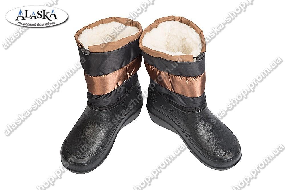 Женские дутики золотисто-черный (Код: ТС снеж золото)