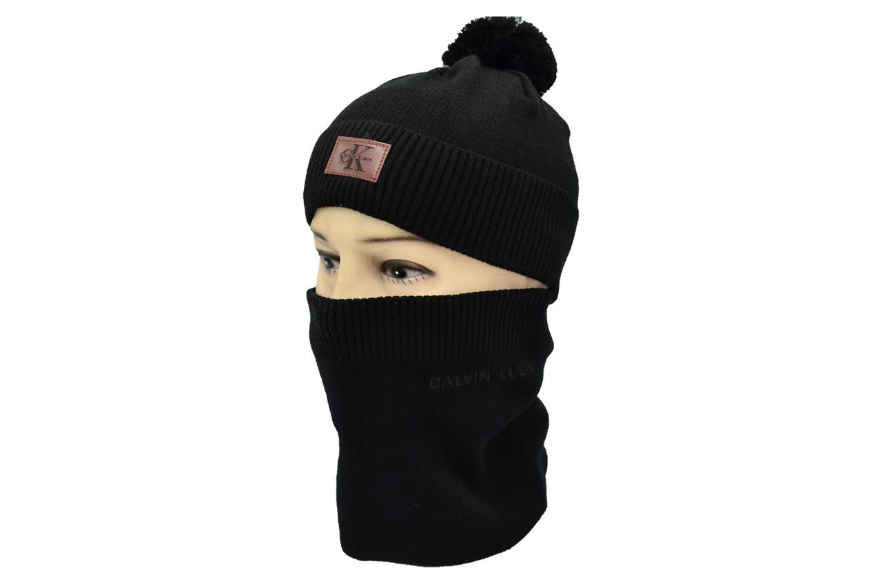 Комплект Flexfit шапка з помпоном и снуд Calvin Klein Чёрный (F-0918-46)