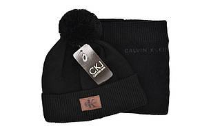Комплект Flexfit шапка з помпоном и снуд Calvin Klein Чёрный (F-0918-46), фото 2