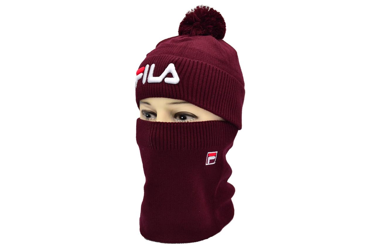 Комплект Flexfit шапка з помпоном и снуд Fila Бордовый (F-0918-49)