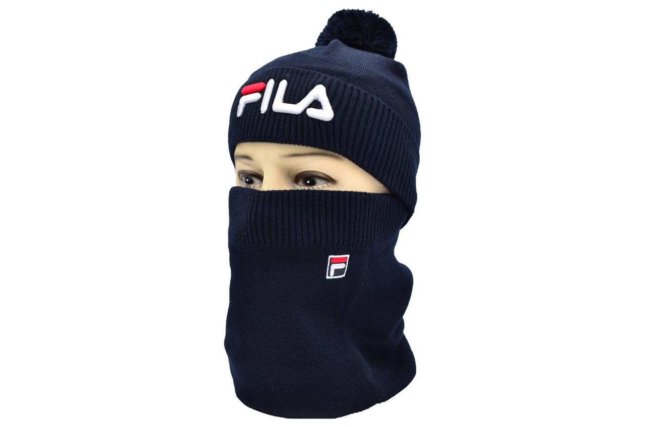Комплект Flexfit шапка з помпоном и снуд Fila Темно-синий (F-0918-50)