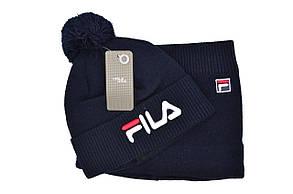 Комплект Flexfit шапка з помпоном и снуд Fila Темно-синий (F-0918-50), фото 2