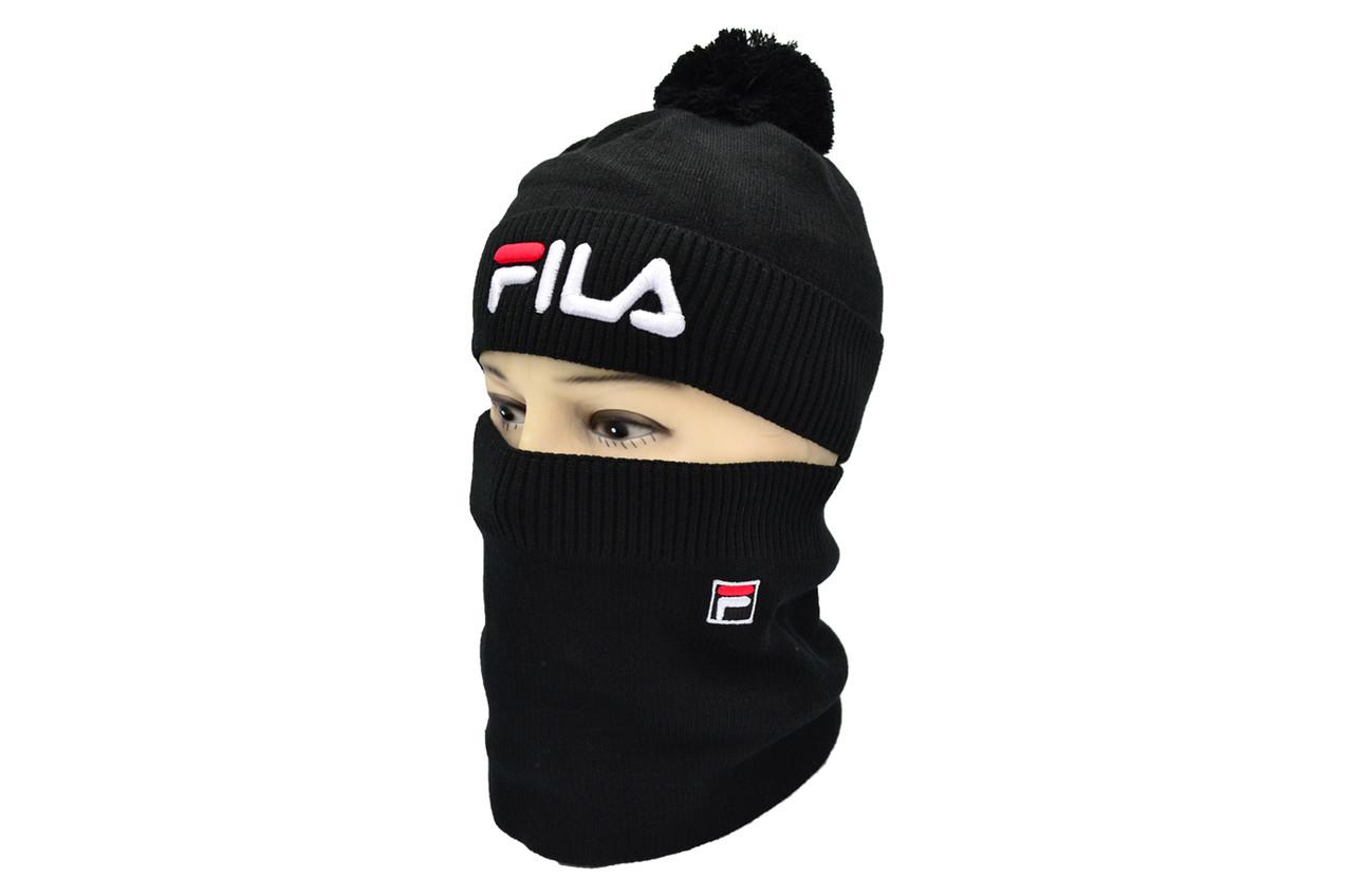 Комплект Flexfit шапка з помпоном и снуд Fila Чёрный (F-0918-51)