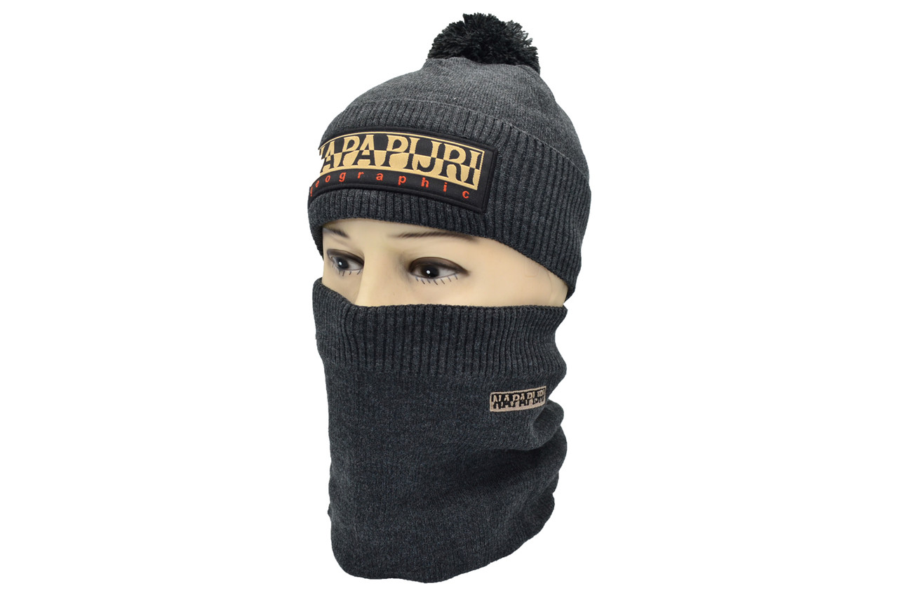Комплект Flexfit шапка з помпоном и снуд Napapijri Темно-серый (F-0918-52)