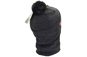 Комплект Flexfit шапка з помпоном и снуд Napapijri Темно-серый (F-0918-52), фото 3