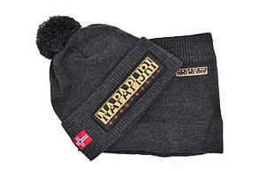 Комплект Flexfit шапка з помпоном и снуд Napapijri Темно-серый (F-0918-52), фото 2