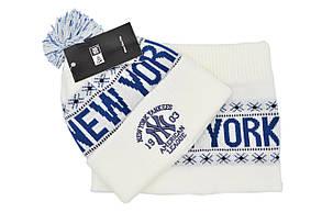 Комплект Flexfit шапка з помпоном и снуд New York Белый (F-0918-55), фото 2