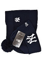 Комплект Flexfit шапка з помпоном и снуд New York Темно-синий (F-0918-56), фото 2