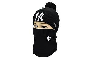 Комплект Flexfit шапка з помпоном и снуд New York Чёрный (F-0918-57), фото 2