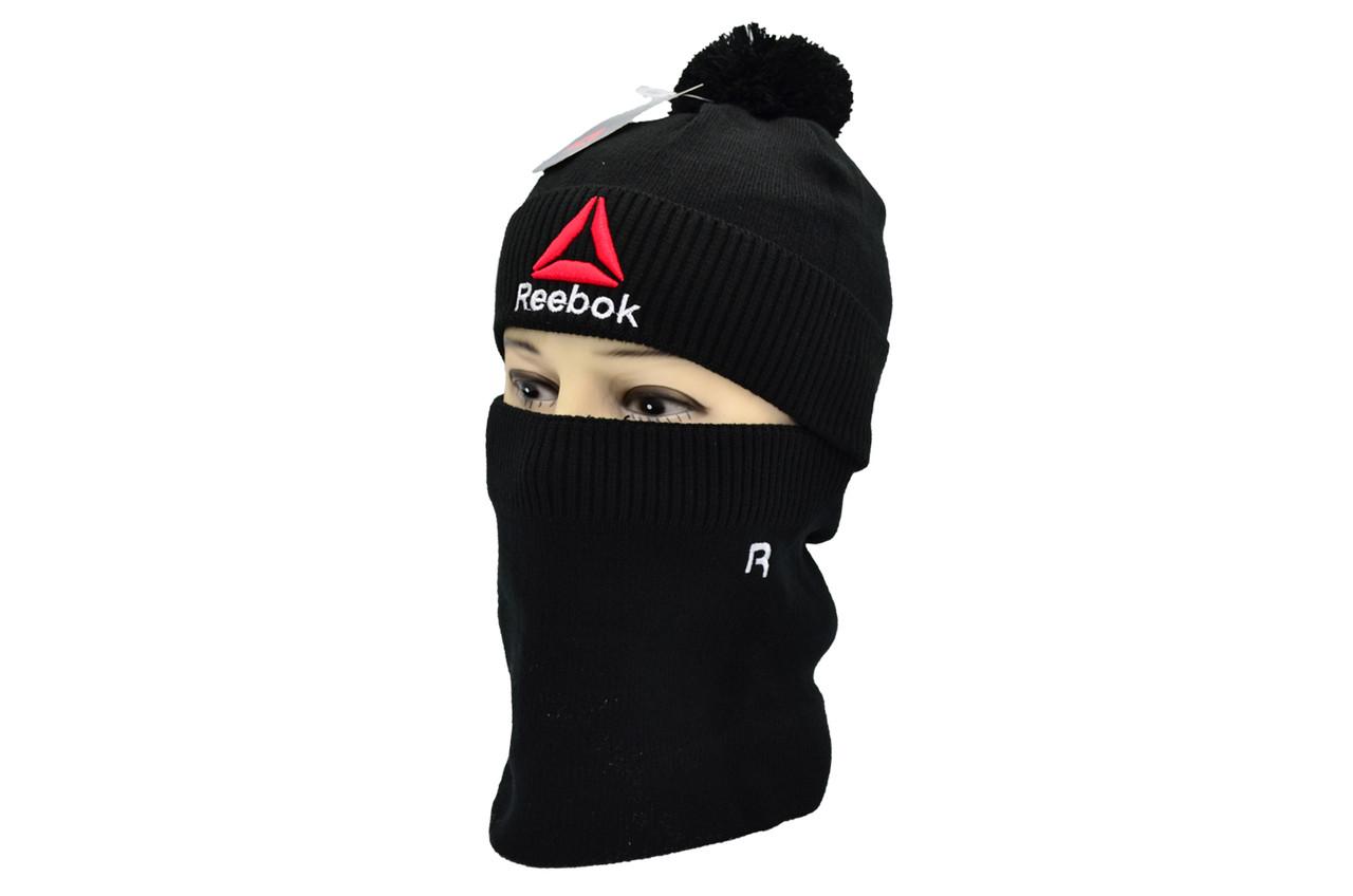 Комплект Flexfit шапка з помпоном и снуд Reebok Чёрный (F-0918-62)