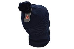 Комплект Flexfit шапка з помпоном и снуд Reebok Темно-синий (F-0918-63), фото 2