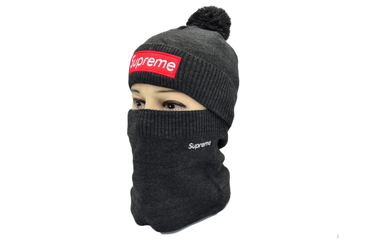 Комплект Flexfit шапка з помпоном и снуд Supreme Темно-серый (F-0918-67)