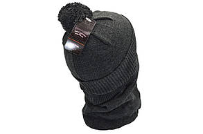 Комплект Flexfit шапка з помпоном и снуд Supreme Темно-серый (F-0918-67), фото 3