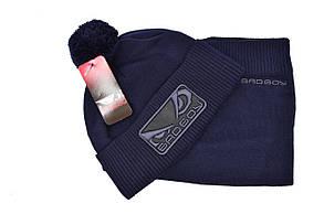 Комплект Flexfit шапка з помпоном и снуд Bad Boy Темно-синий (F-0918-68), фото 2