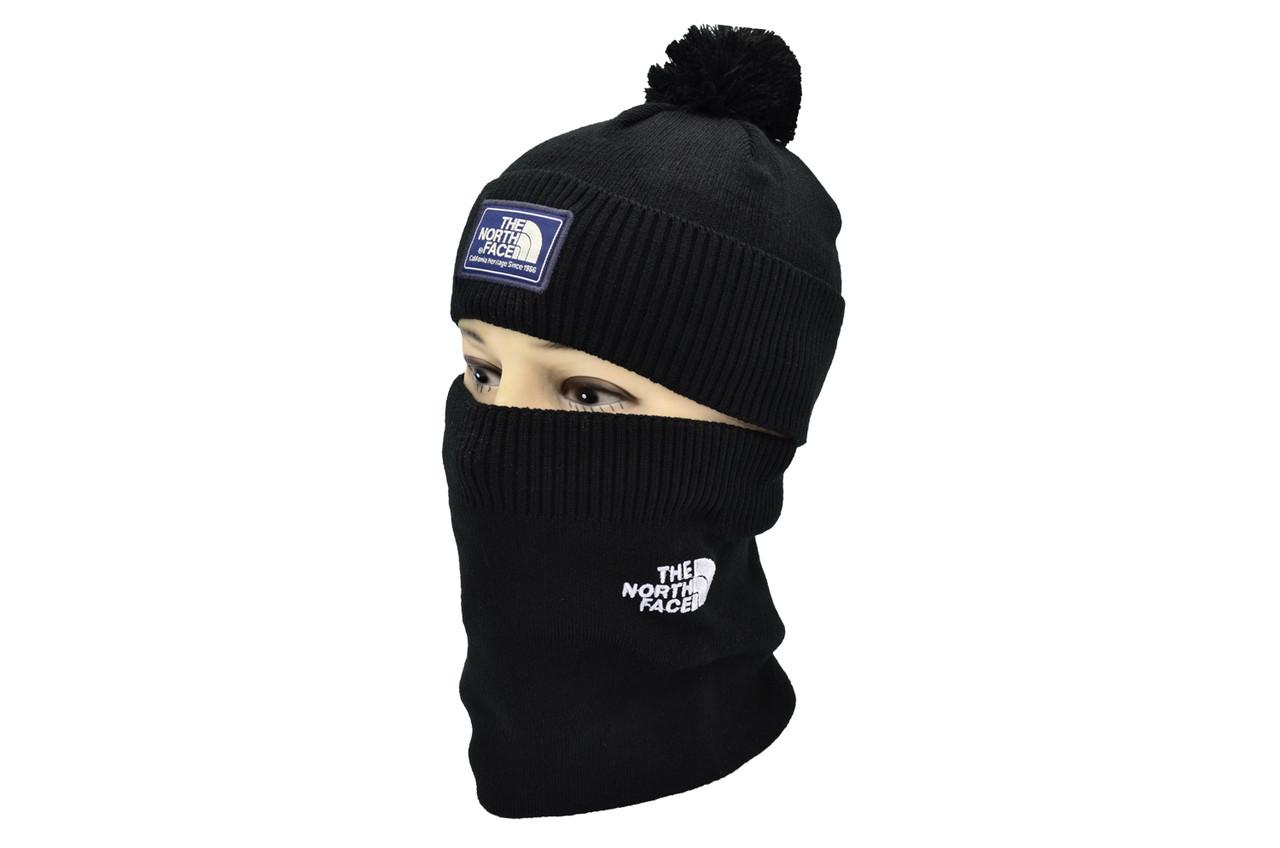 Комплект Flexfit шапка з помпоном и снуд North Face Чёрный (F-0918-69)