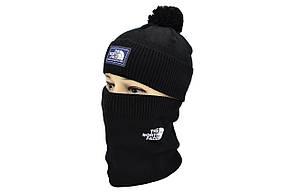 Комплект Flexfit шапка з помпоном и снуд North Face Чёрный (F-0918-69), фото 2
