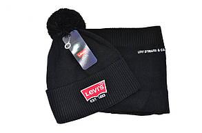 Комплект Flexfit шапка з помпоном и снуд Levi's Чёрный (F-0918-70), фото 2
