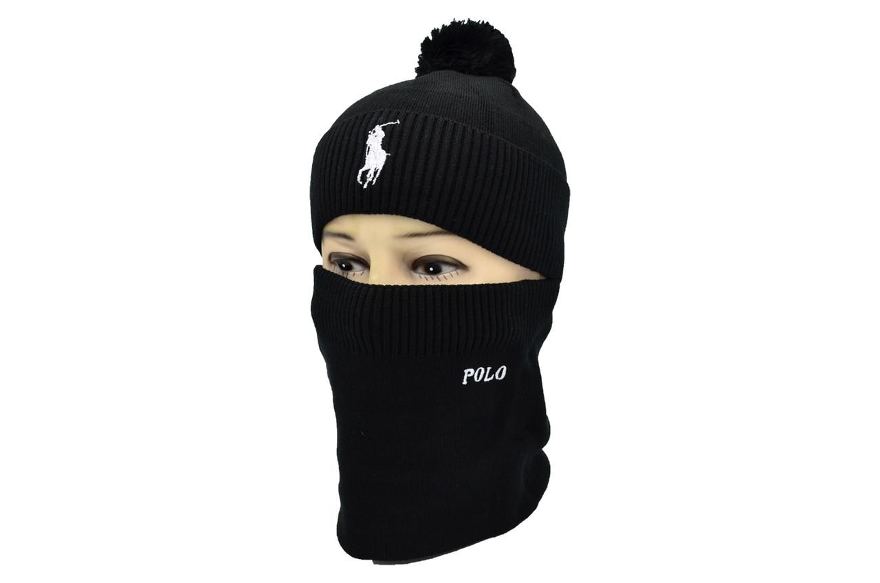 Комплект Flexfit шапка з помпоном и снуд POLO Face Чёрный (F-0918-71)