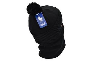 Комплект Flexfit шапка з помпоном и снуд POLO Face Чёрный (F-0918-71), фото 2