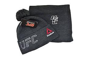 Комплект Flexfit шапка з помпоном и снуд UFC Темно-серый (F-0918-72), фото 2