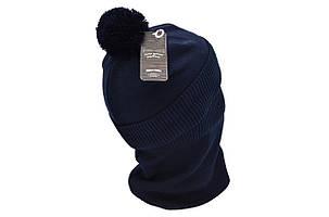 Комплект Flexfit шапка з помпоном и снуд Off-White Темно-синий (F-0918-74), фото 2