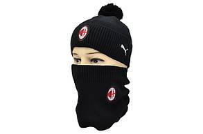 Комплект Flexfit шапка з помпоном и снуд FC Milan Italy Чёрный (F-0918-76), фото 2